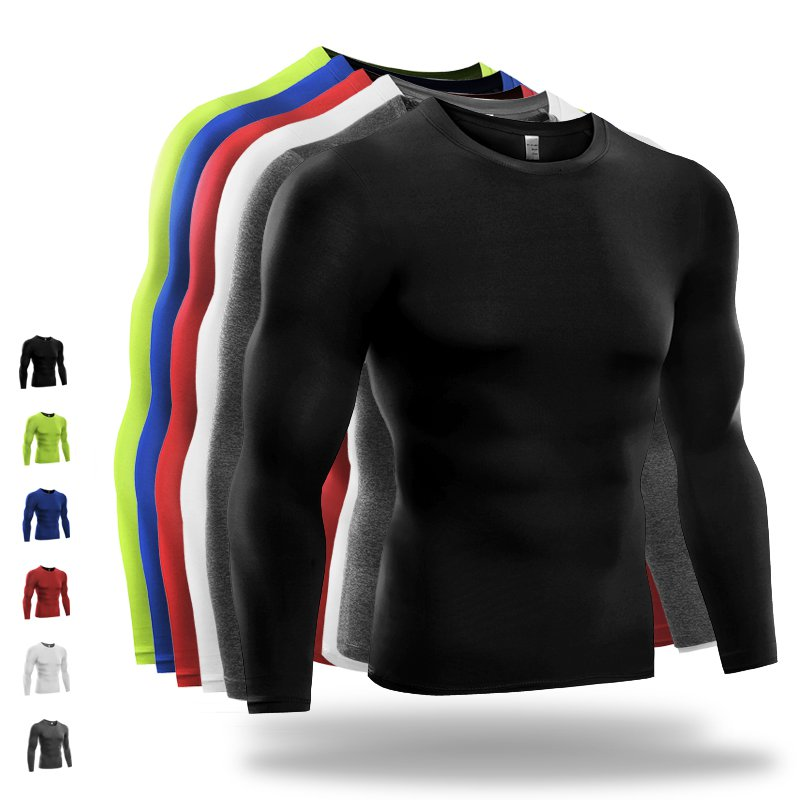 Men Compression Shirt Thermal Base-Layer Fast Dry Sports Athletic Workout Tops
